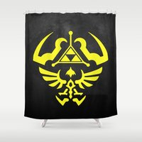 hyrule Shower Curtains featuring Hyrule Shield  by WaXaVeJu