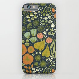 Botanical Sketchbook M+M Navy by Friztin iPhone Case