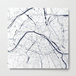Paris France Minimal Street Map - Navy Blue and White Metal Print