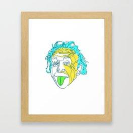 Einstein Line Art   Painting   Print   Poster   Albert Einstein Tongue Out Cartoon Framed Art Print