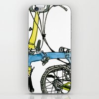 brompton iPhone & iPod Skins featuring My brompton standing up by Swasky