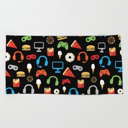 Video Game Party Snack Pattern Beach Towel