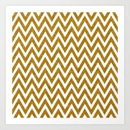 Gold Glitter Chevrons Art Print