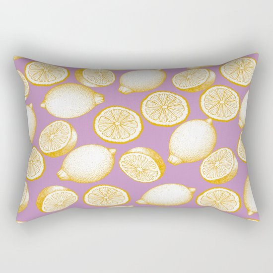 Lemons On Pink Background Rectangular Pillow