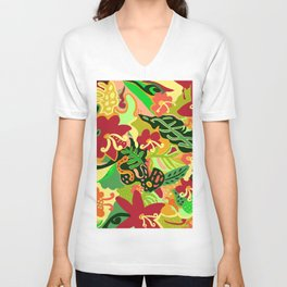 The Life Of Plants - Red Gold and Green Unisex V-Neck