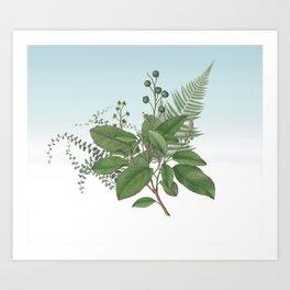 Botanical Leaves and Ferns Digital Collage of Vintage Elements Art Print