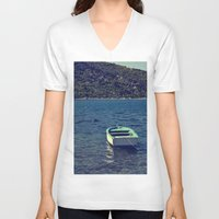 boat V-neck T-shirts featuring boat by gzm_guvenc