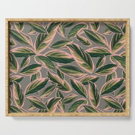 Calathea Leaves Pattern- Pink Green Gray Serving Tray