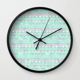 Pink teal watercolor tribal geometrical pattern Wall Clock