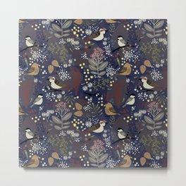 Winter Bird Pattern Metal Print