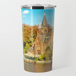 Minnewater lake of love in Bruges, Belgium Travel Mug