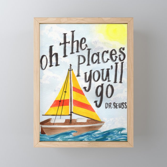 Oh the Places You'll Go - Dr. Seuss Framed Mini Art Print