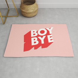 Boy Bye funny poster typography graphic design in red and pink home decor Rug