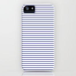 White and Royal Blue Nautical Horizontal Stripes iPhone Case