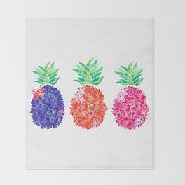 Floral Pineapples Throw Blanket