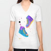 sneakers V-neck T-shirts featuring Skates & Sneakers by Dorrith Rem