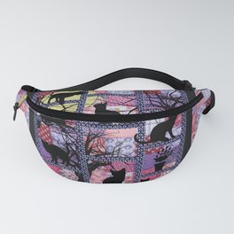 Night Cats on Patchwork Fanny Pack