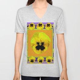 LILAC FRAMED YELLOW  PANSY GARDEN FLOWERS Unisex V-Neck