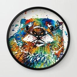 Otter Art - Ottertude - By Sharon Cummings Wall Clock