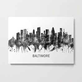 Baltimore Maryland Skyline BW Metal Print