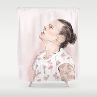 harry Shower Curtains featuring Harry Flamingo by Coconut Wishes