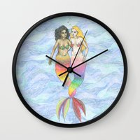 lesbian Wall Clocks featuring lesbian mermaids by ElenaM