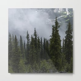 Foggy Mountains and Tree Tops | Alberta | Canada | Landscape Metal Print