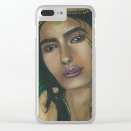 Lady in Green Clear iPhone Case