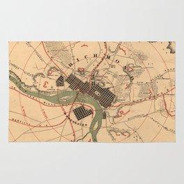 Vintage Richmond VA Rebel Defense Map (1864) Rug
