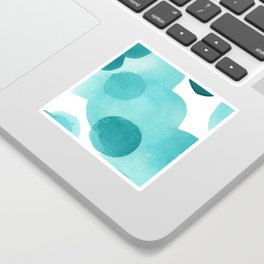 Aqua Bubbles: Abstract turquoise watercolor painting Sticker