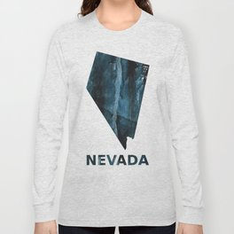 Nevada map outline Dark blue streaked watercolor Long Sleeve T-shirt