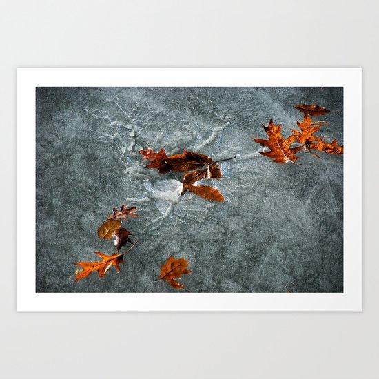 Autumn Leaves on Ice Art Print