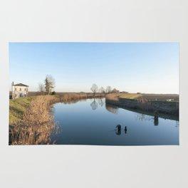 A blue river landscape Rug