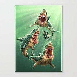 Great White Sharks #1 Canvas Print