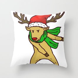 Reindeer Christmas Gift Sledge Funny Throw Pillow
