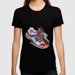 Fashion illustration with sport boots. Trendy design T-shirt