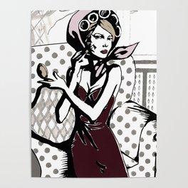 Pretty in maroon dress Poster