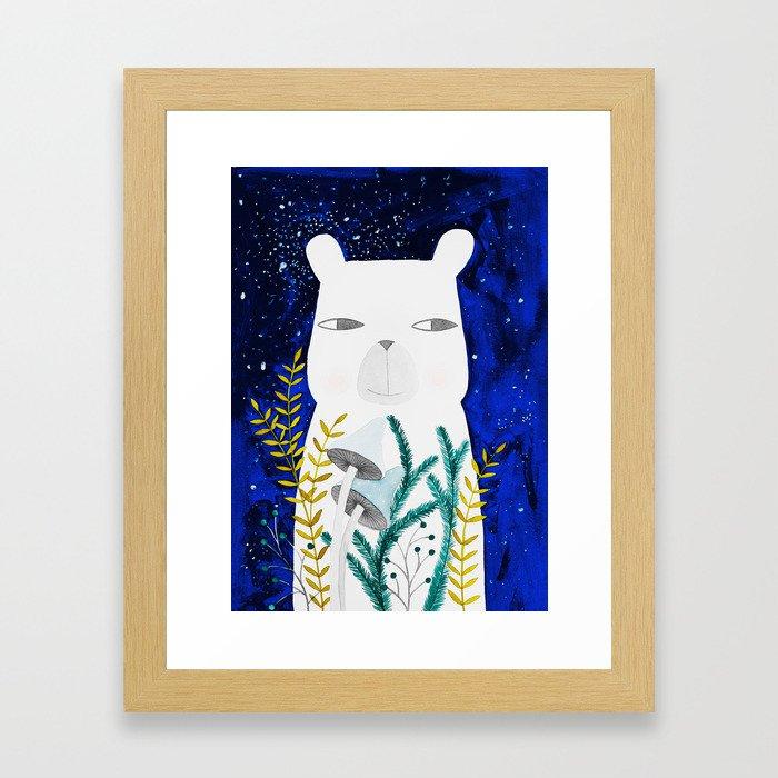 polar bear with botanical illustration in blue Framed Art Print