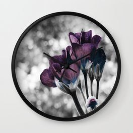Pop of Color Flowers Muted Eggplant Teal Wall Clock