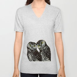 Burrowing Owls in love Unisex V-Neck