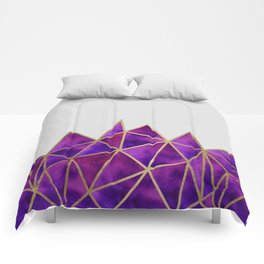Purple & Gold Geometric Comforters