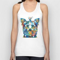 yorkie Tank Tops featuring Colorful Yorkie Dog Art - Yorkshire Terrier - By Sharon Cummings by Sharon Cummings