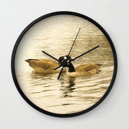 Sepia Geese Wall Clock