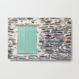 Window Shutters on a Rustic Rock Wall Metal Print