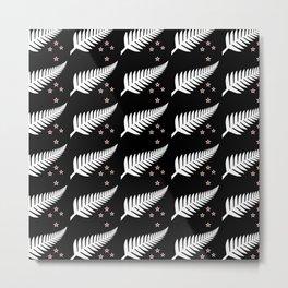 New Zealand Silver Fern Flag Black Pattern Metal Print
