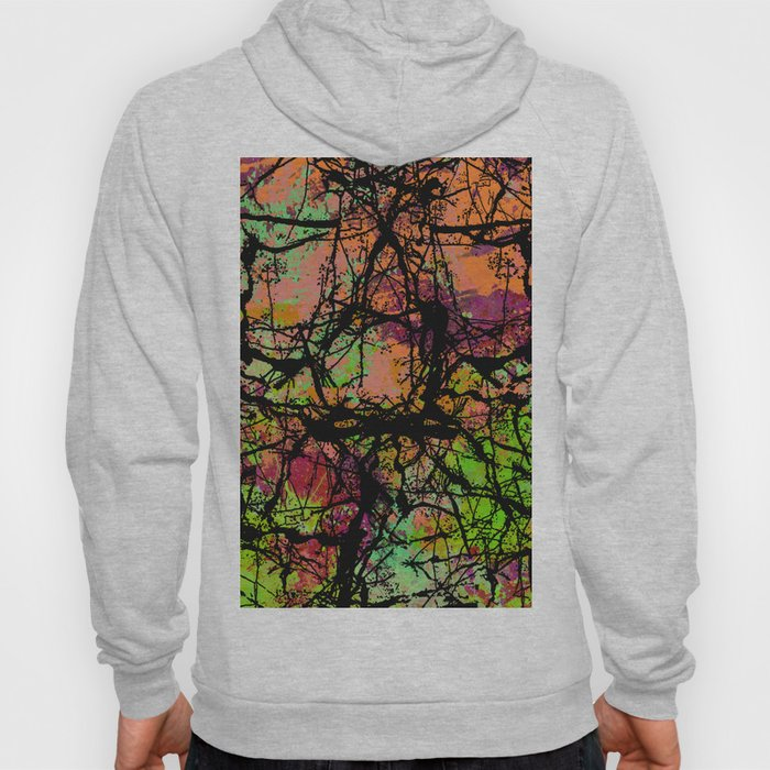 Cracks And Colour - Pastel orange, blue and green abstract with black marble effect Hoody