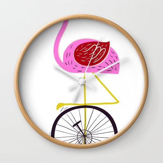 flamingo unicycler Wall Clock