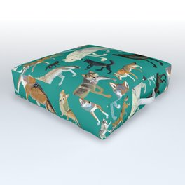 Wolves of the World Green pattern Outdoor Floor Cushion
