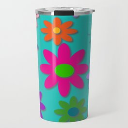 Flower Power - Teal Background - Fun Flowers - 60's Style - Hippie Syle Travel Mug