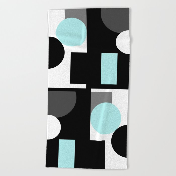 An abstract geometric pattern . Geometric shapes . Black sky blue white pattern . Beach Towel